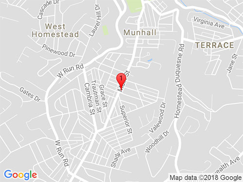 Google Map of 3413 Main St, Munhall, PA 15120